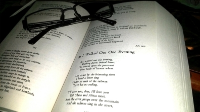 "Cliche shot of a favourite poem, WH Auden's ""As I Walked Out One Evening"""