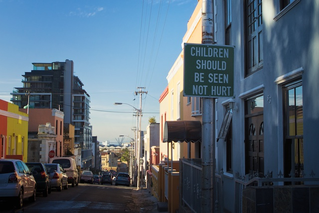 A sign on a narrow cobblestone street In the Bo Kaap district of Cape Town - Copyright JM Schreiber